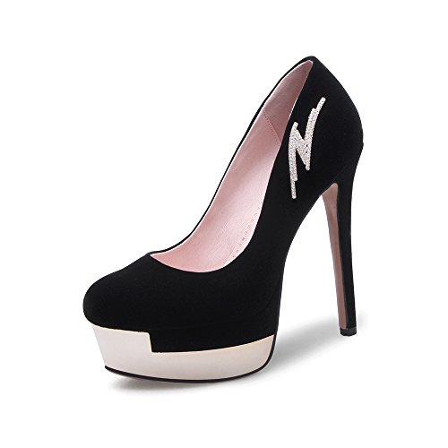 JIEEME Ladies Sexy Stiletto Platform Party Women Pumps Crystal Black Red Round Toe Women Court Shoes Black EMoike1AZ