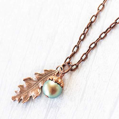 - Acorn Oak Leaf Charm Copper Necklace