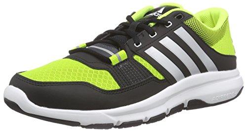 adidas Herren Gym Warrior .2 Hallenschuhe, Schwarz Gelb (Semi Solar Slime/Silver Met./Solar Yellow)
