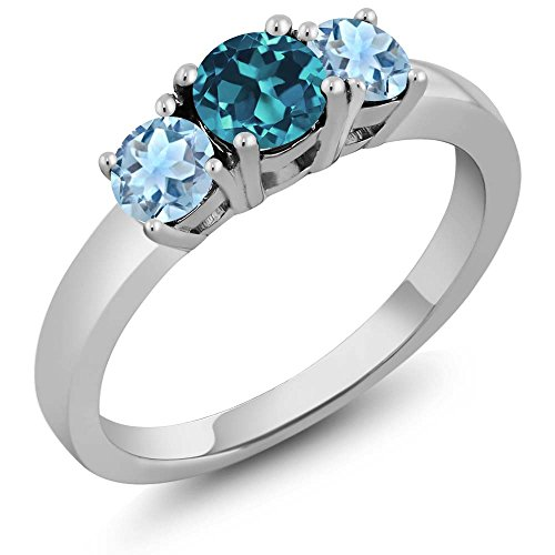 Round Blue Topaz Prong - 0.99 Ct Round London Blue Topaz Sky Blue Aquamarine 925 Sterling Silver Ring (Ring Size 8)