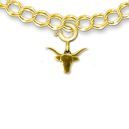 14k Gold Longhorn Cattle Charm for Charm Bracelet by The Magic Zoo - 14k Cow Pendant