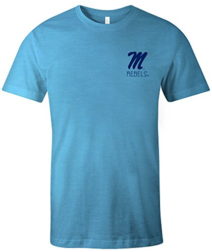 NCAA Mississippi Old Miss Rebels Adult NCAA Aztec Square Short sleeve Triblend T-Shirt,Medium,Aqua (Mississippi Rebels Ncaa Tee)