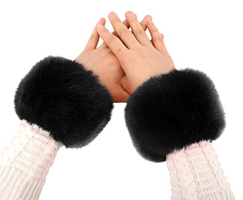 Simplicity Ladies Winter Faux Fur Wrist Warmer Cuff Wristband, Black]()