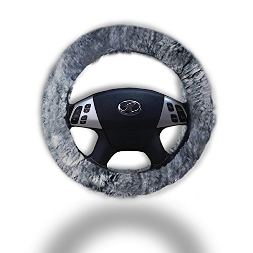 Zento Deals Soft Stretchable Sheepskin Grey Steering Wheel Cover Protector - A Must Have for All Car Owners for a More Comfortable Driving (Steer Wheel Cover Leather compare prices)