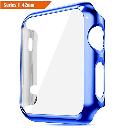 ICE FROG iWatch Series 1 42mm Case, Electroplate Metal Plated PC Slim Hard Protective Bumper HD Screen Protector Full Coverage Case Cover Shell for Apple Watch 42mm - Blue