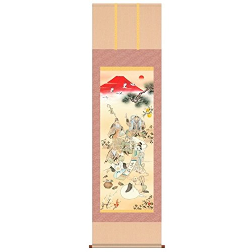 [掛軸][開運七福招来図]江本修山[桐箱畳紙収納][尺三][開運の掛軸][d5-046-k3]   B01FQCH5KO