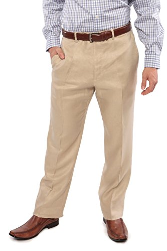 Texere Men's Adjustable Linen Dress Pants (Natural Linen, 36) Tailored Lightweight Dress Pants for Men ()