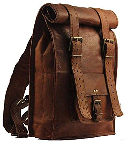 Men's Leather Vintage Roll On Laptop Backpack Rucksack knapsack College Bag (Best Color Printer For Business In India)