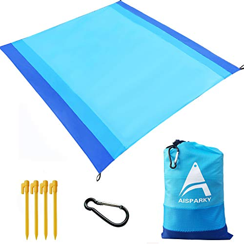 AISPARKY Beach Blanket, Beach Mat Outdoor Picnic Blanket Large Sandproof Compact for 7 Persons Water Proof and Quick Drying Picnic Sheet for Outdoor Travel