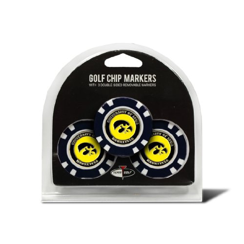 Team Golf NCAA Iowa Hawkeyes Golf Chip Ball Markers (3 Count), Poker Chip Size with Pop Out Smaller Double-Sided Enamel ()