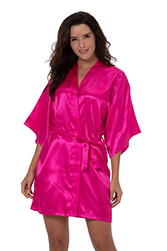 ShinyLuck Women's Satin Short Kimono Robe Solid Color Dressing Gown Bridal Party Robe (X-Large, Hot ()