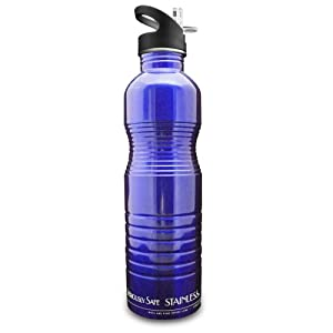 new wave enviro stainless steel water bottle 1 liter blue sports water bottles. Black Bedroom Furniture Sets. Home Design Ideas