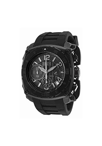 Elini Barokas Men's 'The General' Swiss Quartz Stainless Steel and Silicone Casual Watch, Color:Black (Model: ELINI-20010-BLK) - Elini Black Chronograph