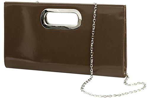 Emmy-Shop - Cartera de mano de material sintético para mujer, color Violeta, talla One Size marrón - marrón oscuro