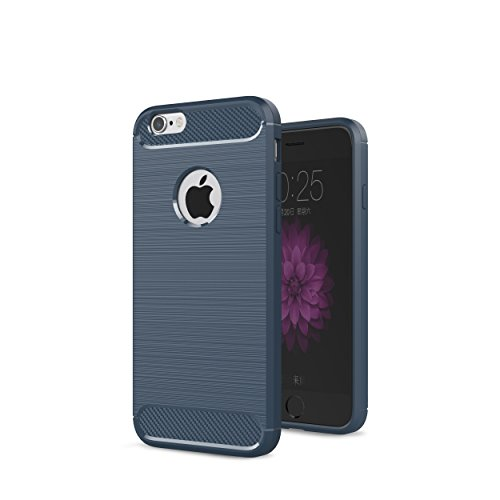 iPhone 6S Case, iPhone 6 Case Shockproof Protective Kit with [2 Tempered Glass Screen Protectors] Heavy Duty TPU Case Anti-Slip Brushed Back Design Cover for iPhone 6S & iPhone 6 4.7' (Blue)
