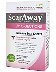 ScarAway C-Section Scar Treatment Strips, Silicone Adhesive Soft Fabric (7 X 1.5 Inch) (8 Sheets)
