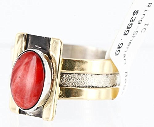 - .925 Sterling Silver and 12kt Gold Filled Handmade Certified Authentic Navajo SPINY OYSTER Native American Ring