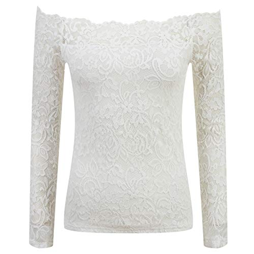 - Womens Boat Neck Floral Lace Off Shoulder Long Sleeve Shirt Top 68119 (L, White)