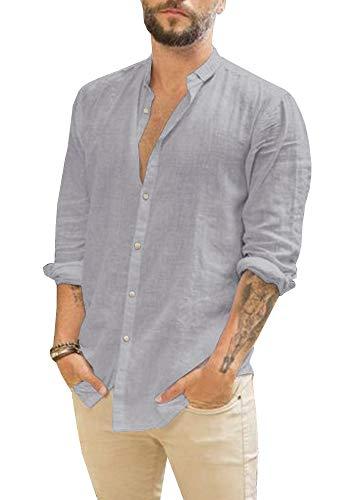 Makkrom Mens Button Down Cotton Linen Shirts Long Sleeve Loose Summer Beach Casual Shirt Tops