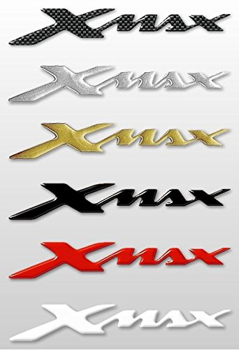 2 ADESIVI/STICKERS in RESINA 3D SCRITTA XMAX per SCOOTER Accessori YAMAHA X MAX Labelbike