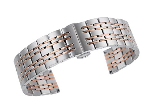 ne bracelet replacement for watches solid stainless steel in silver and rose gold ()