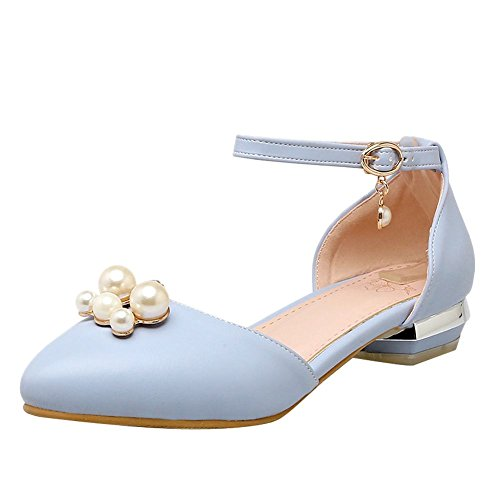 Mee Shoes Women's Dolly Ankle Strap Faux Pearl Court Shoes Blue