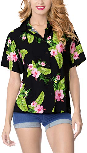 LA LEELA Women Camp Beach Hawaiian Shirt Collar Black_6022 XXL - US 44-48C ()