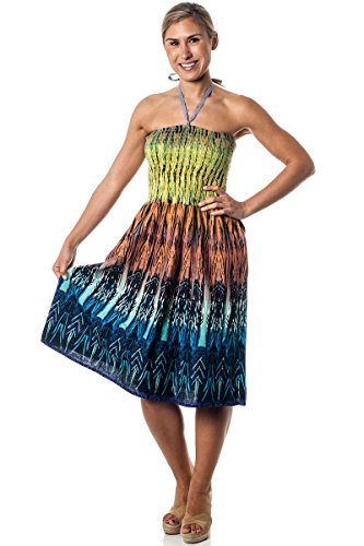 One-Size-fits-Most Tube Dress/Coverup - Tribal Sparks Yellow