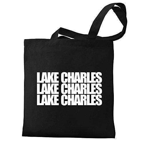 Eddany Lake Charles three words Canvas Tote Bag (Lake Shopping La Charles)