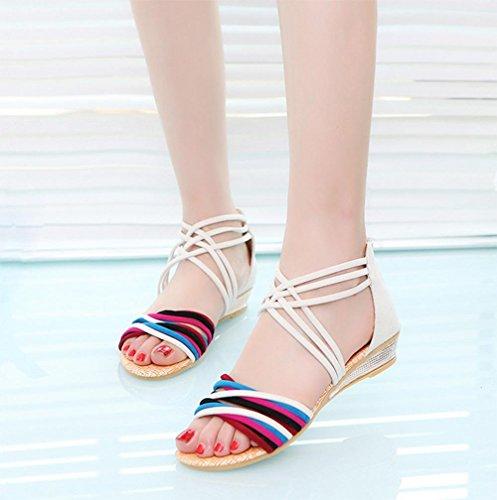 Sommer nach Reißverschluss Hang mit niedrigen Absätzen Sandalen Kreuzgurte offene Sandalen Beige