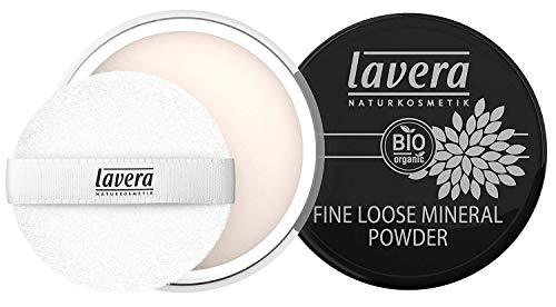 lavera Puder Fine Loose Mineral Powder ∙ Transparentes Gesichtspuder ∙ Natural & innovative Make up ✔ vegan ✔ Bio Pflanzenwirkstoffe ✔ Naturkosmetik ✔ Teint Kosmetik Gesicht 1er Pack (1 x 8 g)