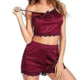 2PCS Lingerie Women, Sleeveless Sleepwear Lace Bow Nightwear Trim Satin Top Pajama Set Underwear Loungewear Wine
