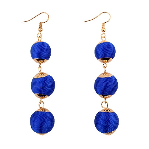Pendant Drop Dangle Earrings for Women Rope Thread Handmade Statement (Royal Blue) ()