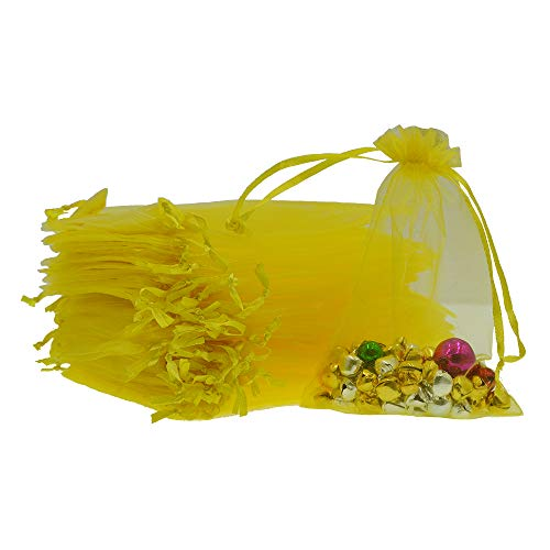 (Lautechco 100Pcs Organza Bags 4x6 inches Yellow Organza Gift Bags Small Mesh Bags Drawstring Gift Bags Christmas Drawstring Organza Gift Bags (4x6 inches Yellow))