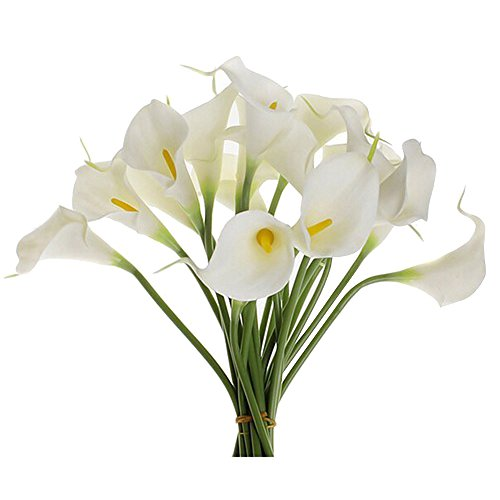 Hall Coffee Pot (Kaimao 10 Pcs Artificial Calla Lily Flower Real Touch Bridal Wedding Flowers Bouquet for Home Room or Birthday Garden Decoration -)