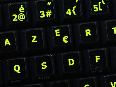 Desktop and Laptop Glowing Fluorescent French Blegian Keyboard Stickers Black Background for Notebook