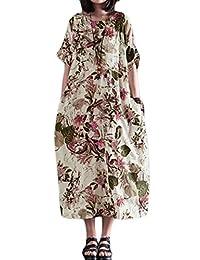 OTW Womens Plus Size Verano Ropa de de algodón con Estampado Floral de Manga Corta Vestido de Fiesta de la Playa Midi