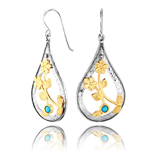 (PZ Paz Creations Turquoise 925 Sterling Silver Pear Shaped Two Tone Dangle Earrings (Gold-Plated-Silver))