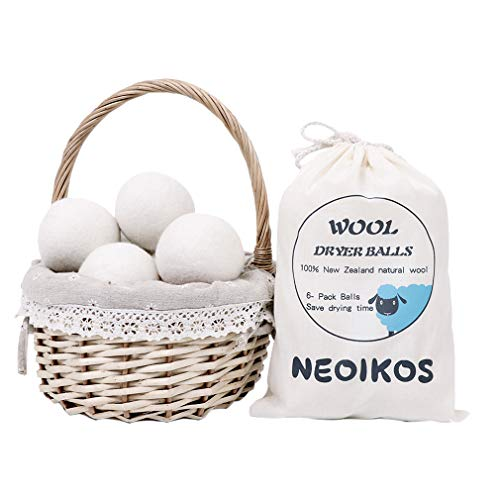Wool Dryer Balls 6 Pack X-Large Natural Fabric Softener, Reduce Wrinkles&Pet Hair, Organic Laundry Balls for Sensitive Skin & Baby, Shorten Drying Time, White (Best Dryer Balls For Pet Hair)