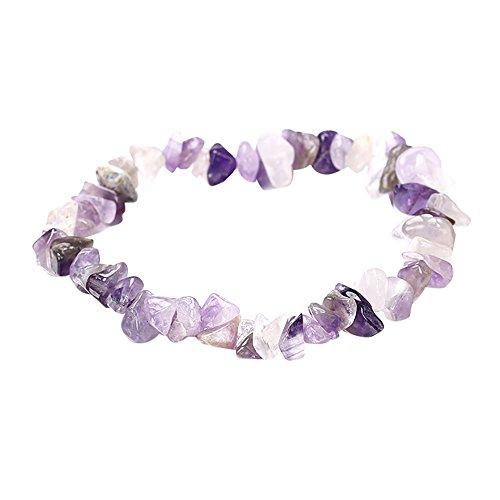 NIHAI Natural Crystal Gravel Bracelet, Mixed Natural Gemstone Beads Bracelet, Handmade 5-8mm, Best Gift for Women Men Teens Girls - Heart 14k 7 Mm