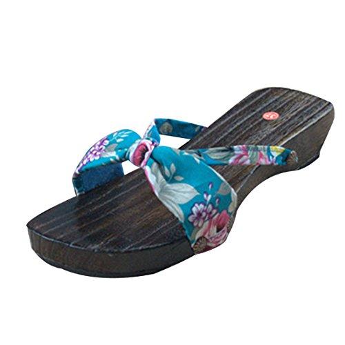 Jiyaru Kvinna Tofflor Dam Träskor Slip-on Sandal Japansk Stil Blå