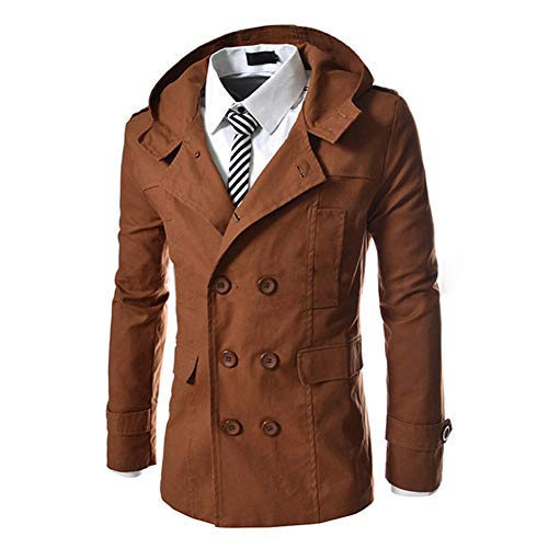 AOWOFS Men's Hooded Trench Coat Double-Breasted Business Windbreaker Jacket Spring Fashion Slim Fit (Camel, Large) from AOWOFS