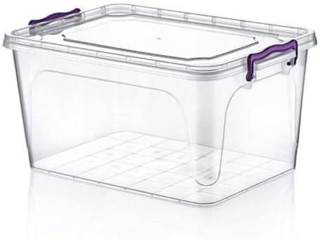 Grande 25 L Heavy Duty Plástico Transparente Caja de almacenamiento apilable Contenedor transparente con tapa de cierre: Amazon.es: Hogar