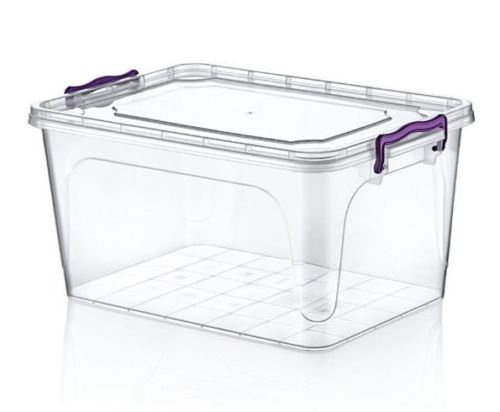 Large 25 Litre Heavy Duty Clear Plastic Storage Box Stackable