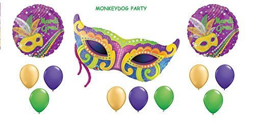 12pc MARDI GRAS BALLOON set PARTY new ORLEANS parade MASK 3 foils 9 latex by MONKEYDOG PARTY