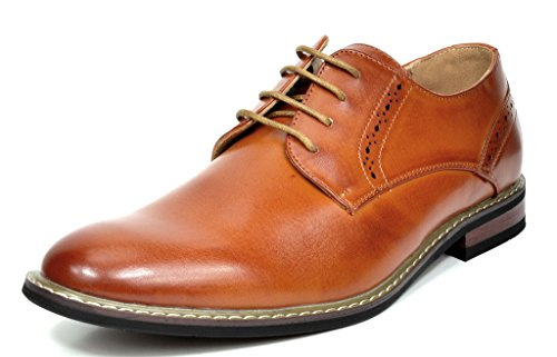 Bruno MARC PRINCE-16 Men's Oxford Modern Classic Brogue Lace Up Leather Lined Perforated Dress Oxfords Shoes Brown Size 10 (Leather Shoes For Men)