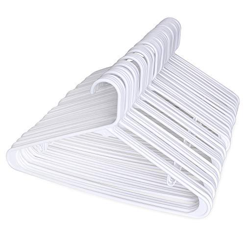 HOUSE DAY 60 Pack Plastic Tubular Adult Hangers 16.5 Inch Light-Weight White Plastic Hanger 60pcs (Plastic Hangers 60)