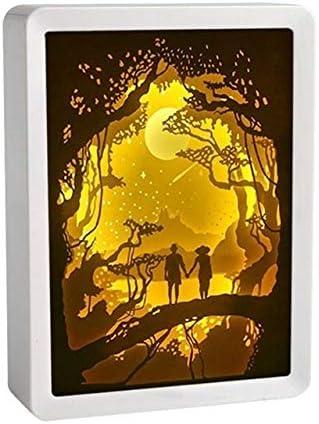 Papel sombra de la luz tallada Luces de DIY creativo de control remoto Pequeño Noche Sala 3D de la lámpara o una lámpara de decoración vector de la Navidad Luz regalos (Emitting