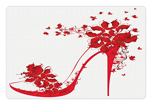 (Ambesonne High Heels Pet Mat for Food and Water, High Heel Shoes with Butterfly and Floral Ornaments Girlish Pretty, Rectangle Non-Slip Rubber Mat for Dogs and Cats, Dark Coral Scarlet White)