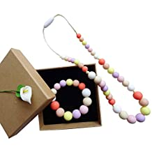 Chewable Rainbow Silicone Baby Teething Necklace for Baby -Silicone Teething Necklace Set in Gift Box-Girl Necklace/Bracelet - Beads Nursing Necklace Jewelry - Teether Chewing Beads - Chew Jewelry Beads-Rainbow Color silicone teething necklace set for little girls